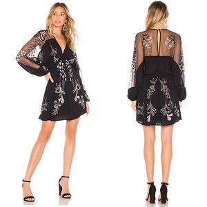 Free People Bonjour Embroidered Mini Dress - Black